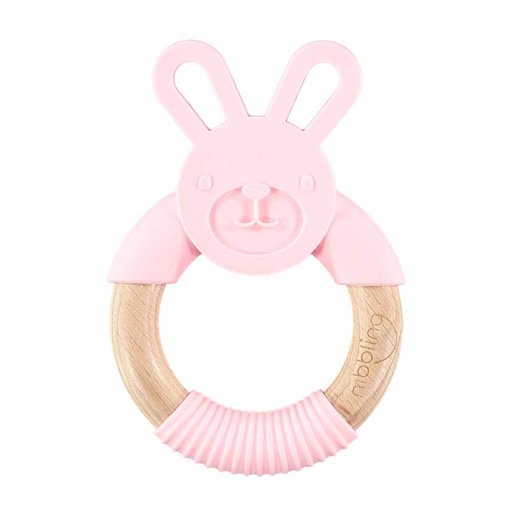 Bambinista-NIBBLING LONDON-Accessories-Teething Ring Chewy Bunny Pink