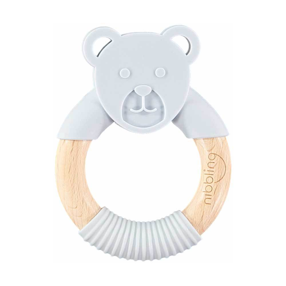 Bambinista-NIBBLING LONDON-Accessories-Teething Ring Ted Bear Grey