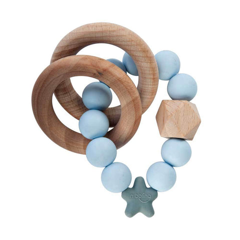 Bambinista-NIBBLING LONDON-Accessories-Teething Toy Stellar Natural Wood Baby Blue