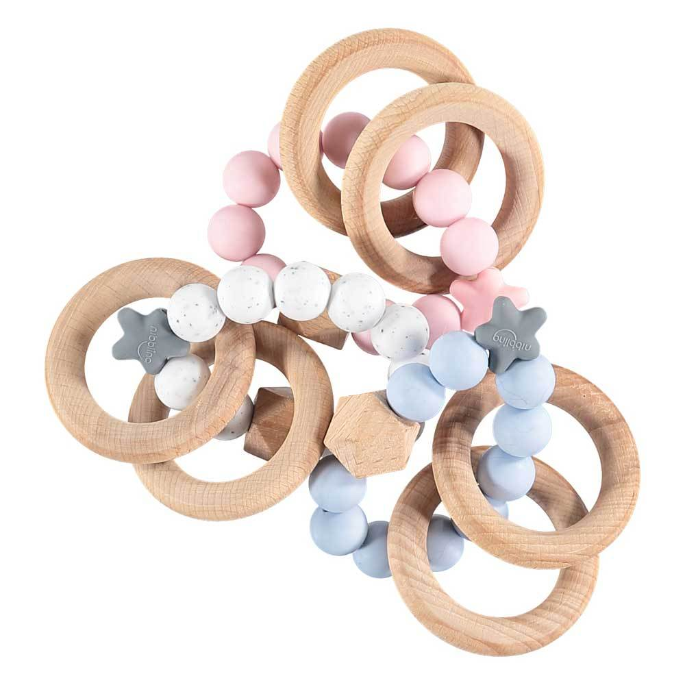Bambinista-NIBBLING LONDON-Accessories-Teething Toy Stellar Natural Wood Baby Pink