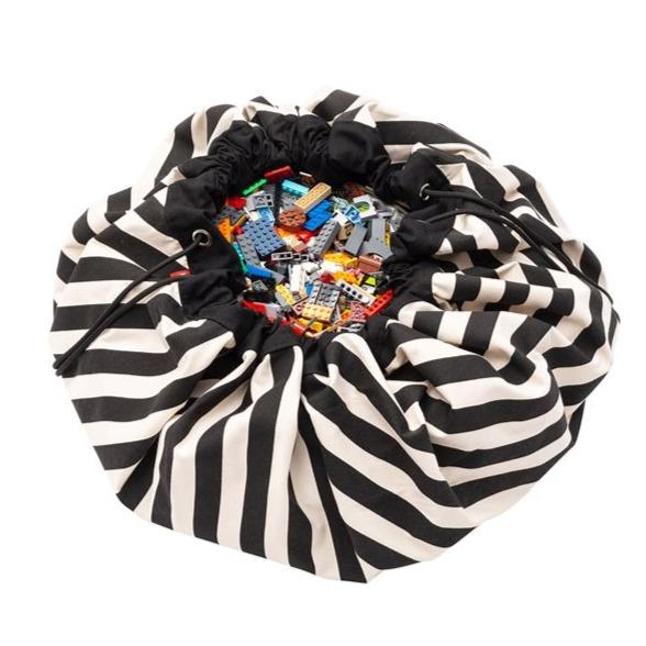 Bambinista-PLAY & GO-Toys-Play Mat / Storage Bag - Black Stripes