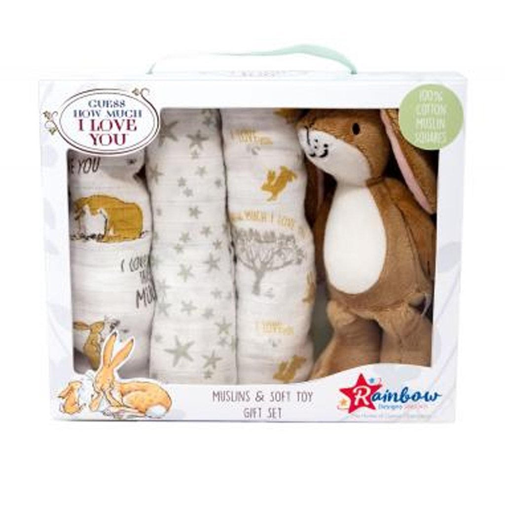 Bambinista-RAINBOW DESIGNS-Toys-Guess How Much I Love You Soft Toy with Muslin Gift set