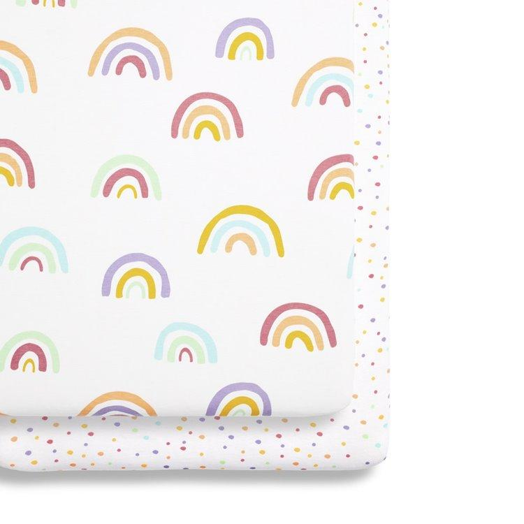 Bambinista-SNUZ-Bedding-Snuz 2 Pack Crib Fitted Sheets - Rainbow
