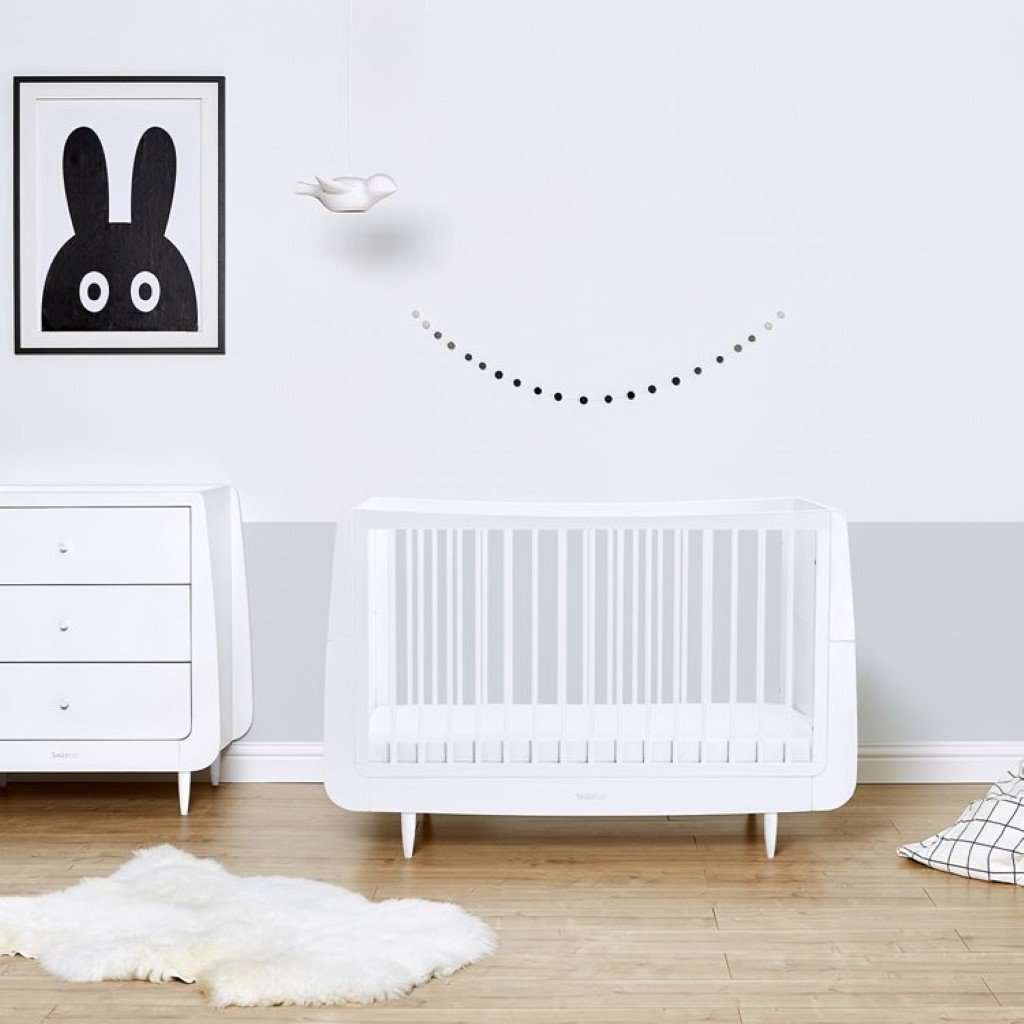 Bambinista-SNUZ-Furniture-SnuzKot Skandi 2 Piece Nursery Furniture Set - White