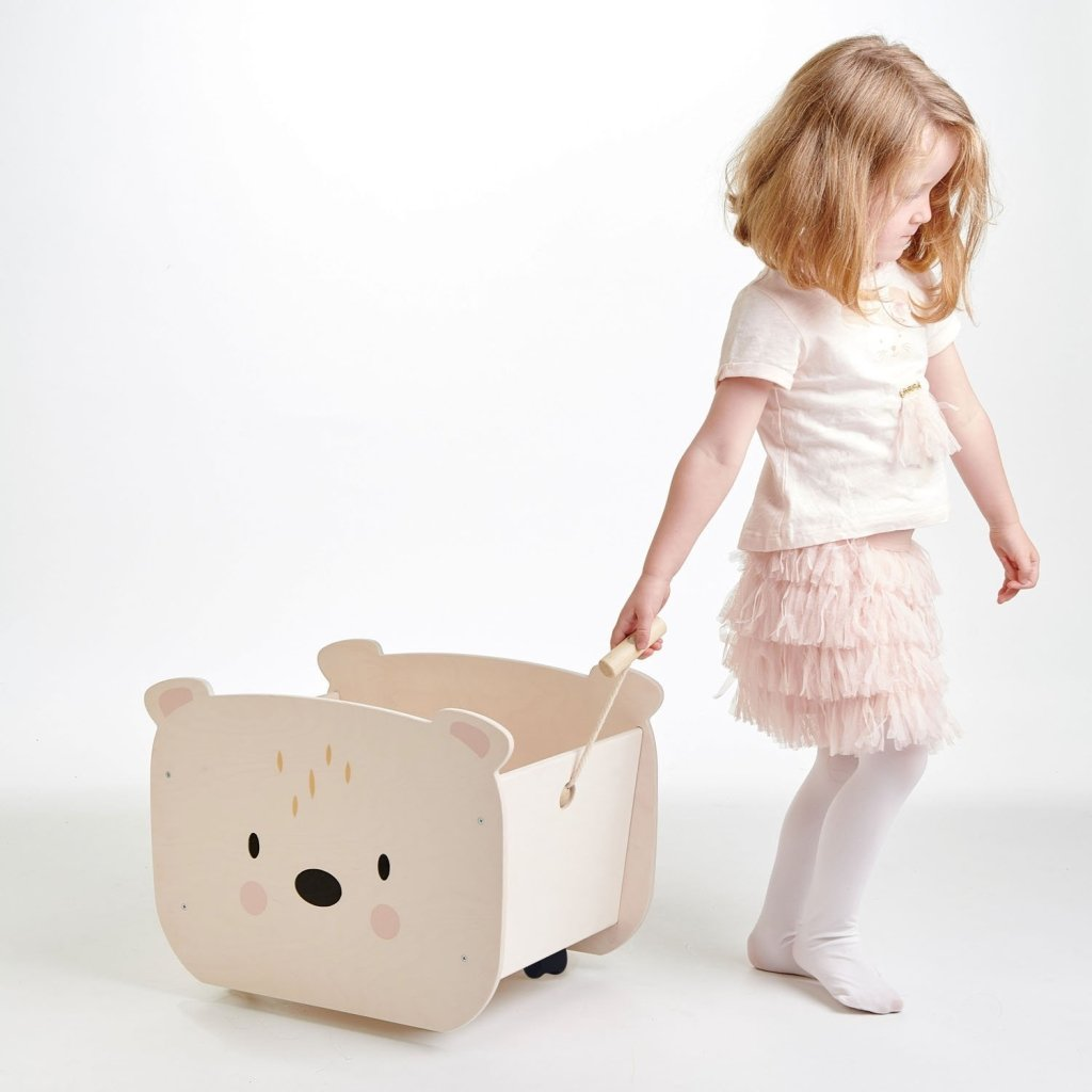 Bambinista-TENDER LEAF TOYS-Furniture-Pull Along Bear Cart