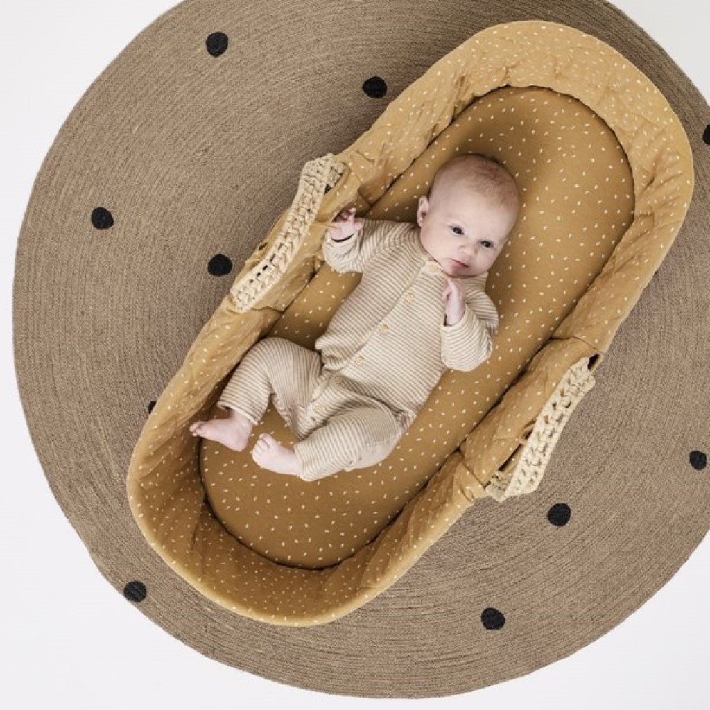 Bambinista-THE LITTLE GREEN SHEEP-Furniture-Natural Quilted Moses Basket & Mattress - Honey Rice
