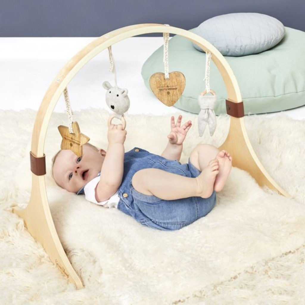 Bambinista-THE LITTLE GREEN SHEEP-Furniture-The Little Green Sheep Curved Wooden Baby Play Gym & Charms Set - Bear Love