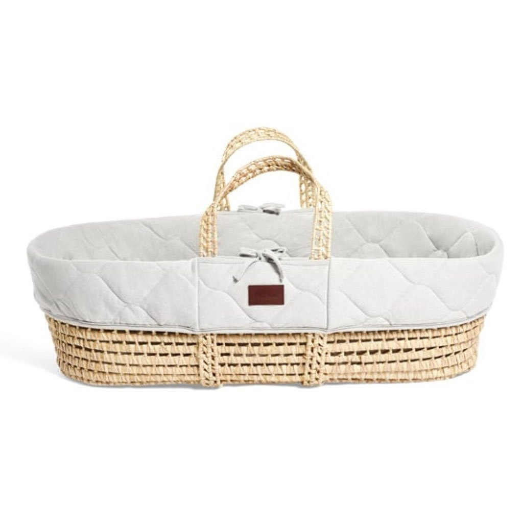 Bambinista-THE LITTLE GREEN SHEEP-Furniture-The Little Green Sheep Natural Quilted Moses Basket & Mattress - Dove