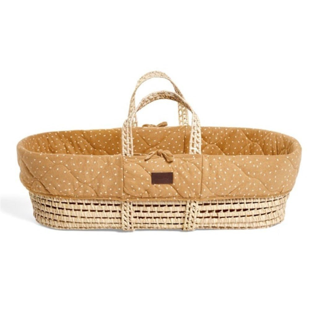 Bambinista-THE LITTLE GREEN SHEEP-Furniture-The Little Green Sheep Natural Quilted Moses Basket & Mattress - Honey Rice