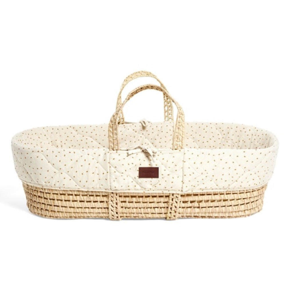 Bambinista-THE LITTLE GREEN SHEEP-Furniture-The Little Green Sheep Natural Quilted Moses Basket & Mattress - Linen Rice