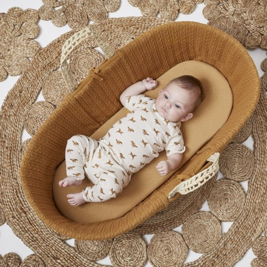 Bambinista-THE LITTLE GREEN SHEEP-Furniture-The Little Green Sheep Organic Knitted Moses Basket & Mattress - Honey