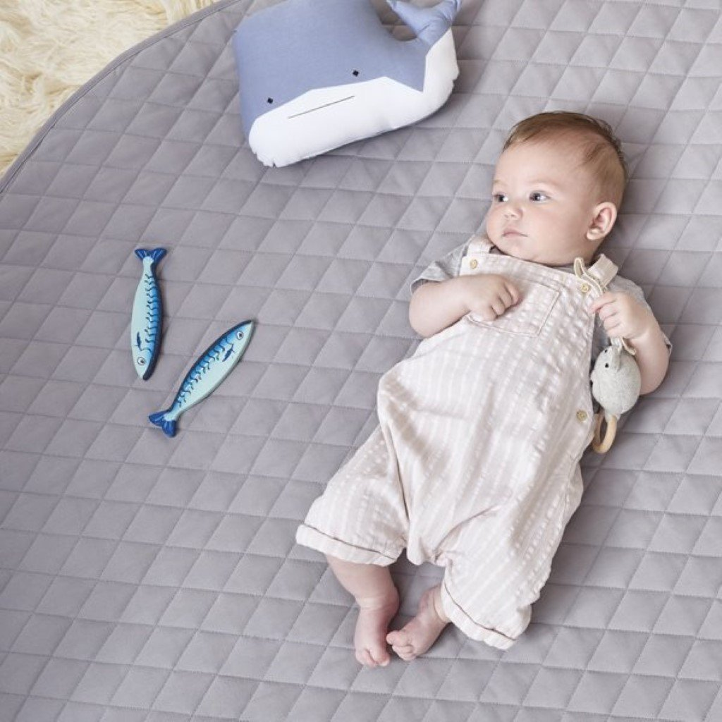 Bambinista-THE LITTLE GREEN SHEEP-Playmat-The Little Green Sheep Quilted Baby Playmat - Grey