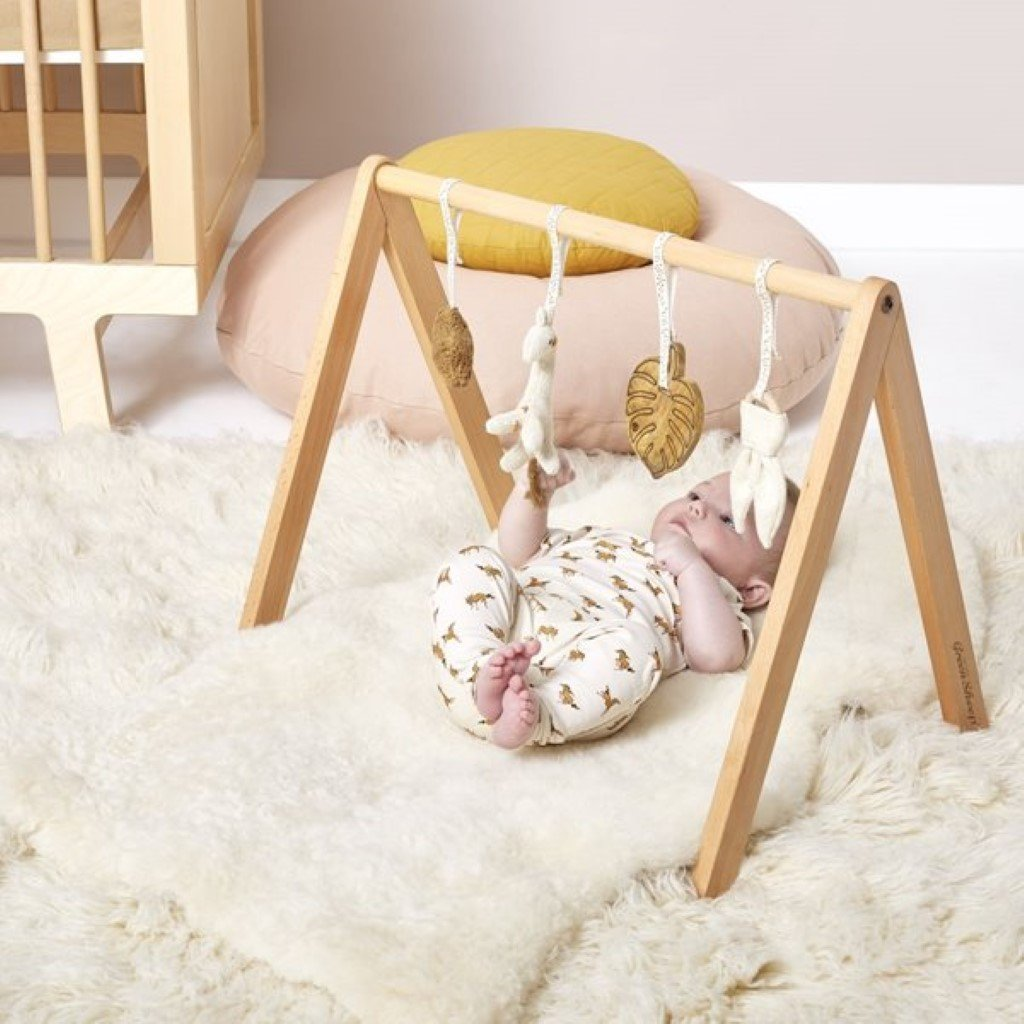 Bambinista-THE LITTLE GREEN SHEEP-Furniture-The Little Green Sheep Wooden Baby Play Gym & Charms Set - Safari Giraffe