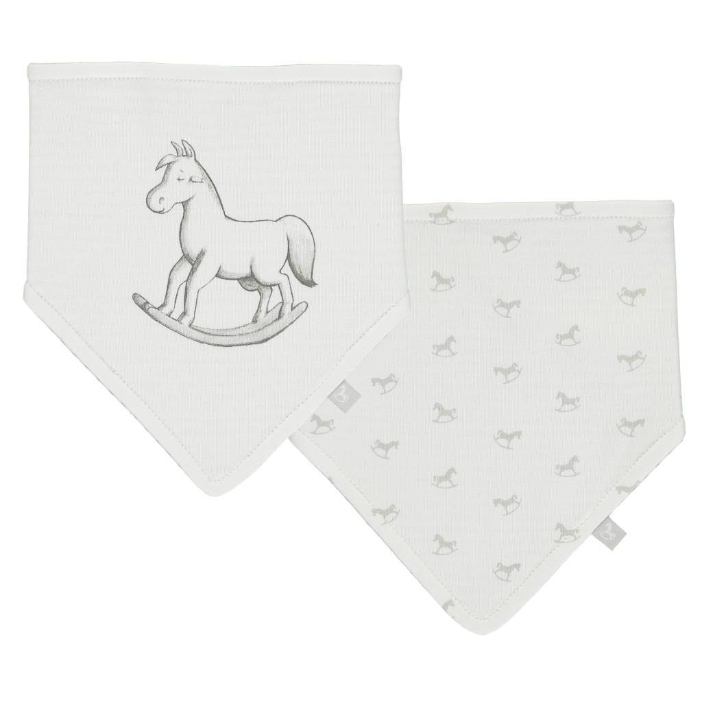 Bambinista-THE LITTLE TAILOR-Accessories-2 Pack Rocking Horse Bib Set - White