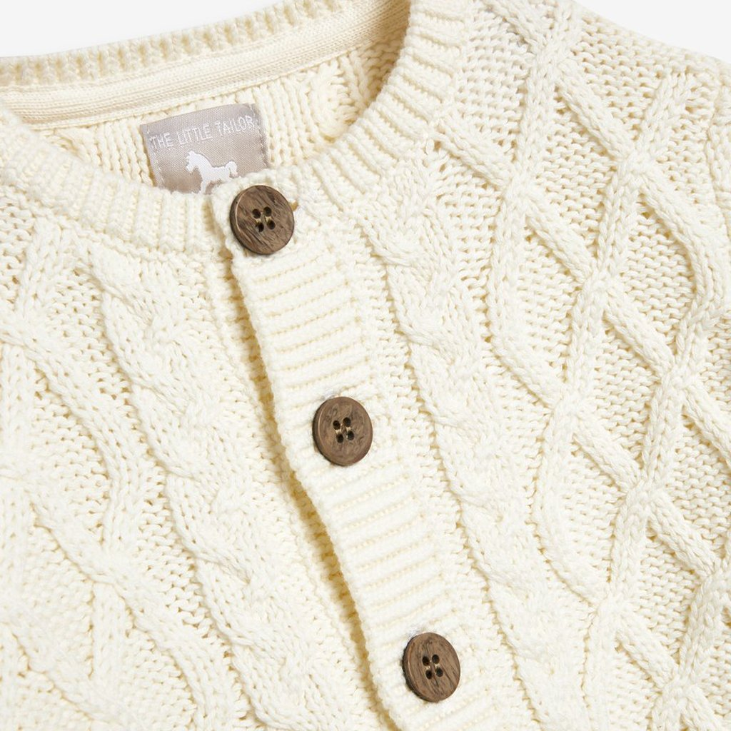 Bambinista-THE LITTLE TAILOR-Cardigans-Chunky Cable Knit Baby Cardigan - Cream