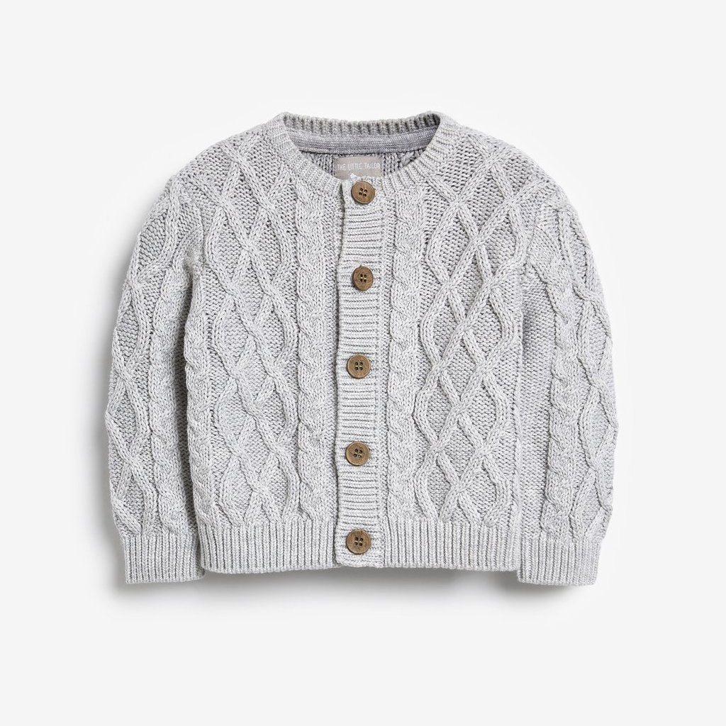 Bambinista-THE LITTLE TAILOR-Cardigans-Chunky Cable Knit Baby Cardigan - Grey