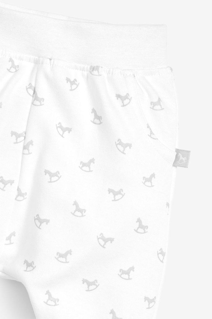Bambinista-THE LITTLE TAILOR-Bottoms-Comfy Rocking Horse Print Pant - White