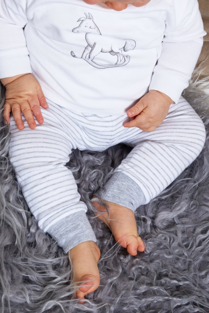 Bambinista-THE LITTLE TAILOR-Bottoms-Comfy Stripey Print Pant - White