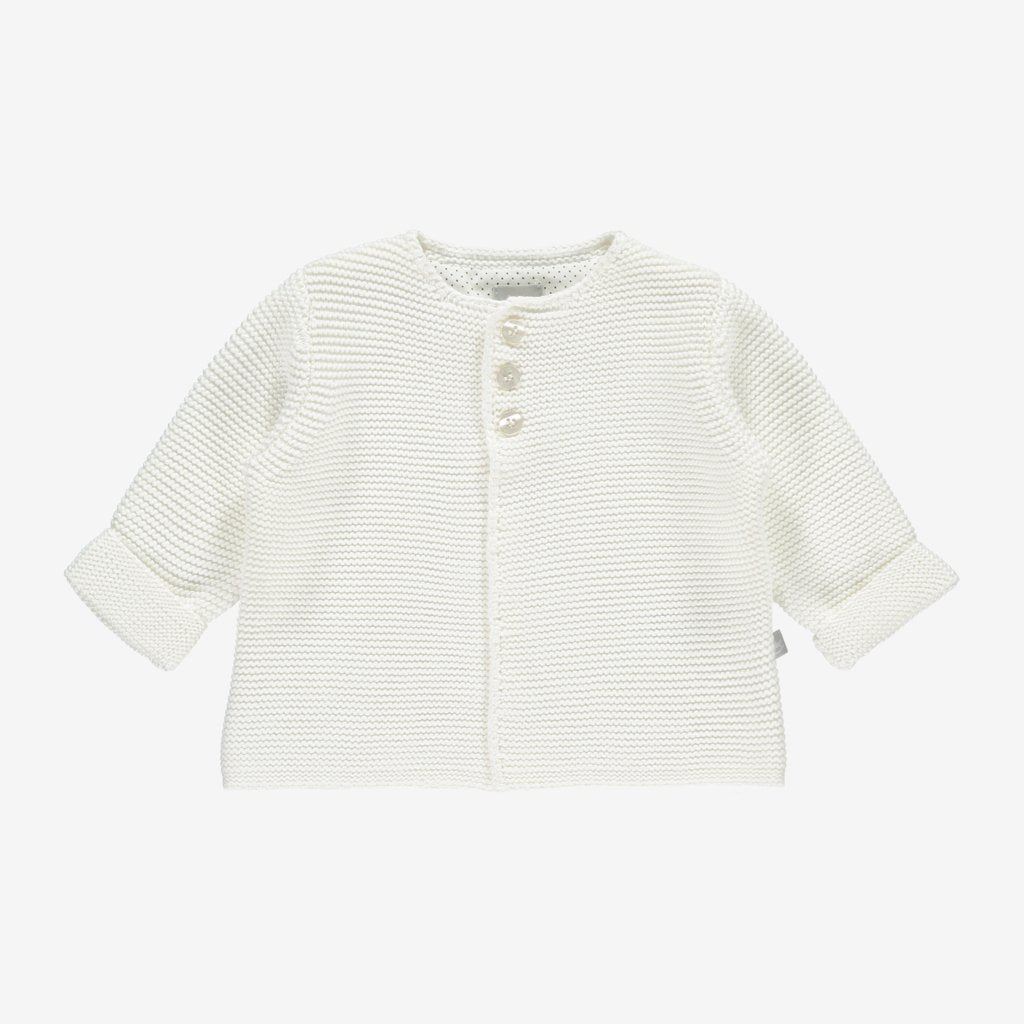 Bambinista-THE LITTLE TAILOR-Cardigans-Cotton Knitted Cardigan - Cream