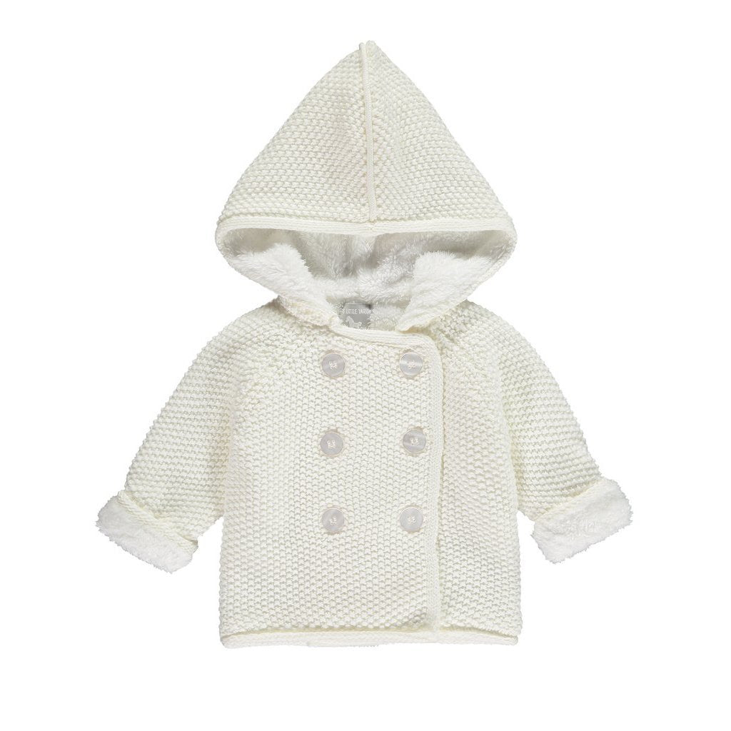 Bambinista-THE LITTLE TAILOR-Outerwear-Cotton Knitted Pram Coat Plush Lined - Cream