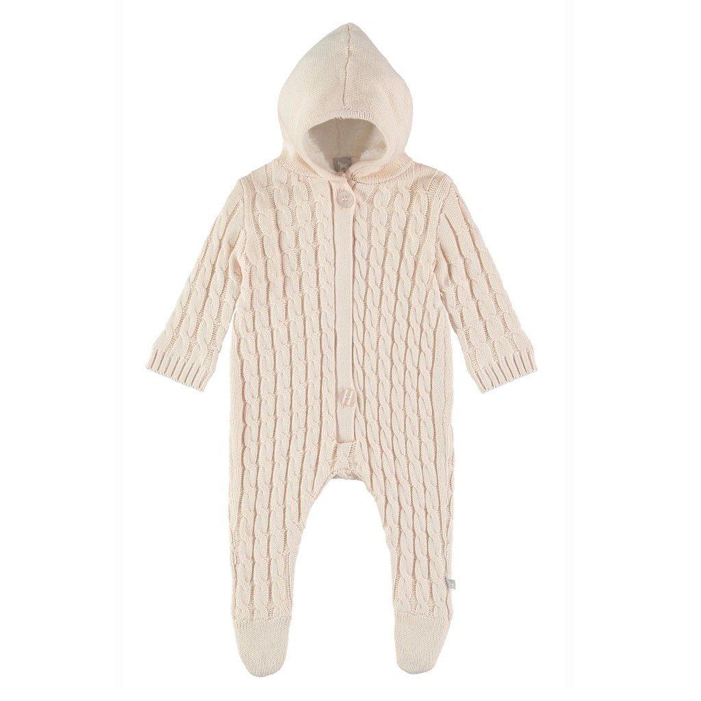 Bambinista-THE LITTLE TAILOR-Outerwear-Lined Knitted Pramsuit -Pink