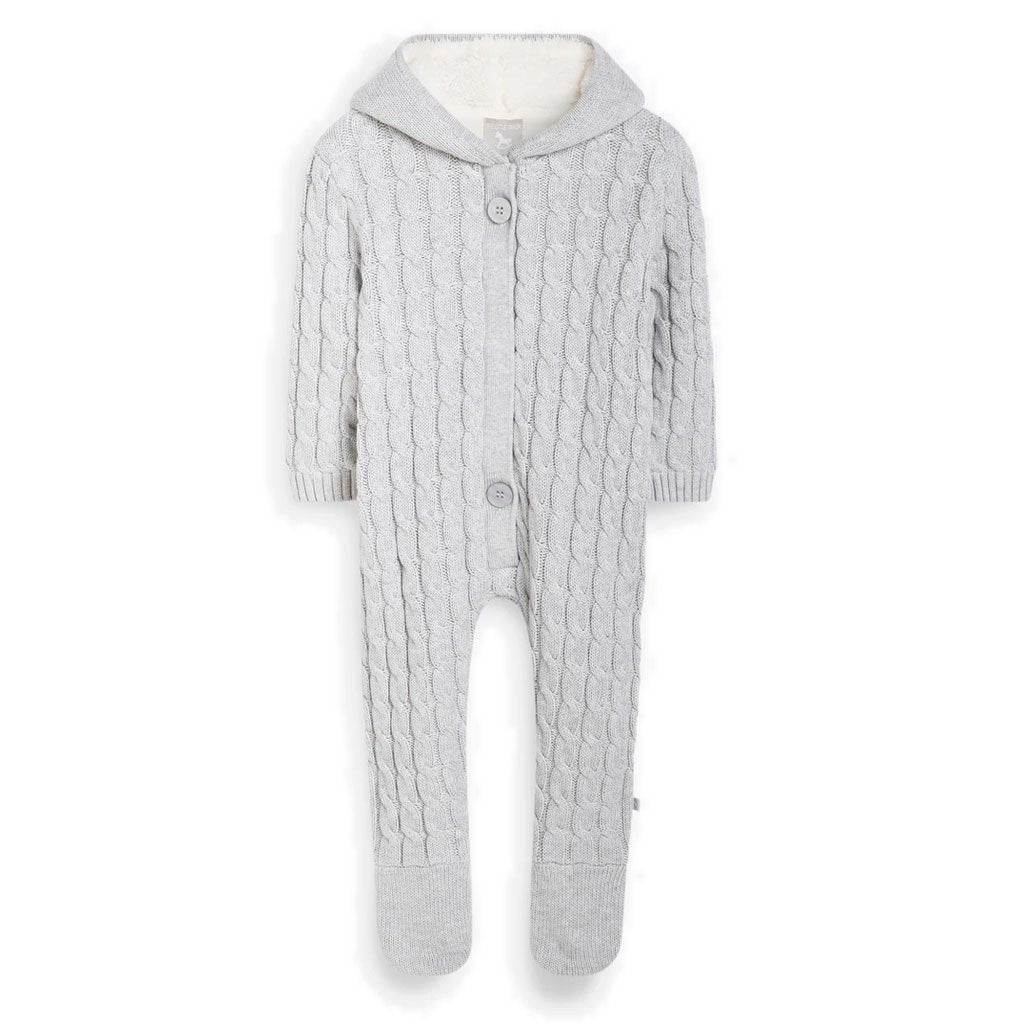 Bambinista-THE LITTLE TAILOR-Outerwear-Lined Knitted Pramsuit - Soft Grey