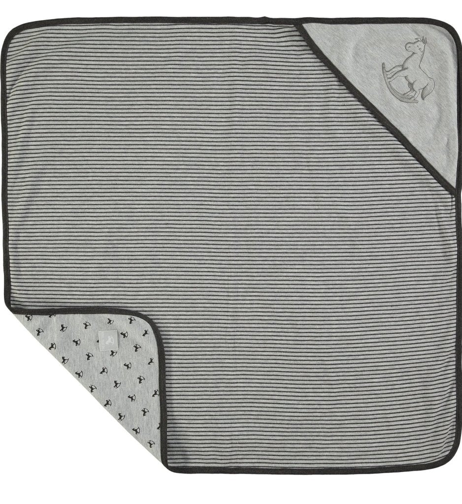 Bambinista-THE LITTLE TAILOR-Blankets-Reversible Soft Jersey Blanket - Charcoal and Grey Marl
