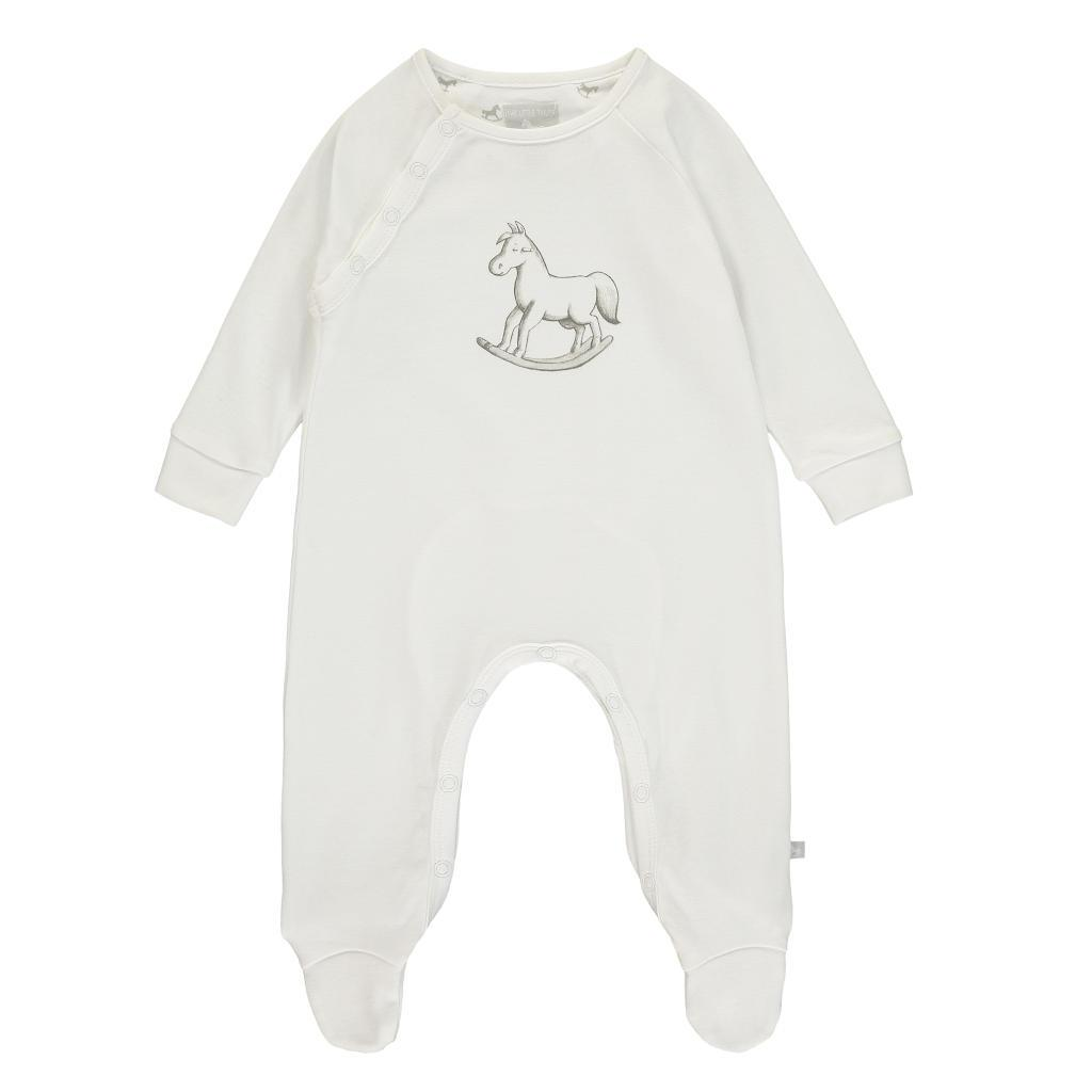 Bambinista-THE LITTLE TAILOR-Rompers-Super Soft Jersey Chest Print Sleepsuit - White