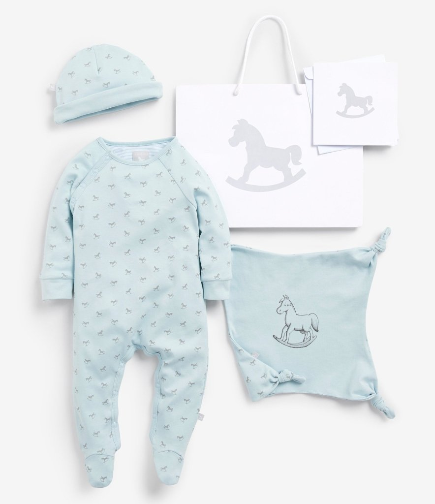 Bambinista-THE LITTLE TAILOR-Accessories-Super Soft Jersey Sleep Suit, Hat And Comforter Gift Set- Blue