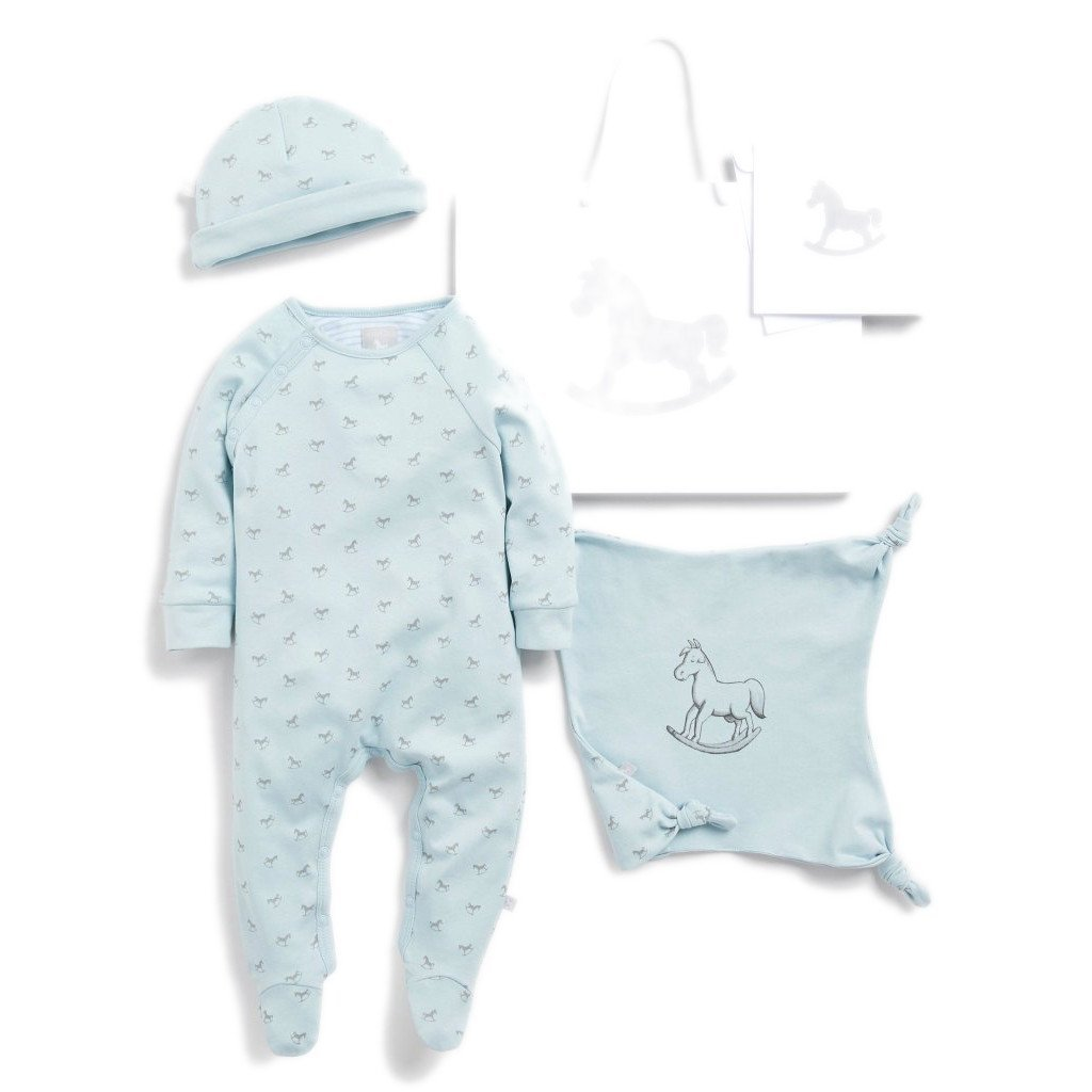 Bambinista-THE LITTLE TAILOR-Gifts-Super Soft Jersey Sleep Suit, Hat And Comforter Gift Set- Blue