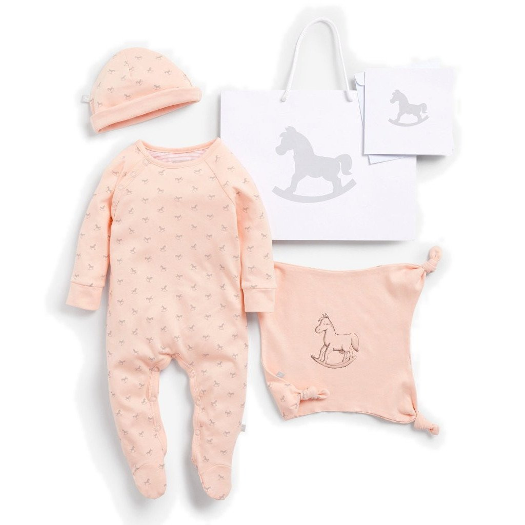 Bambinista-THE LITTLE TAILOR-Gifts-Super Soft Jersey Sleep Suit, Hat And Comforter Gift Set- Pink