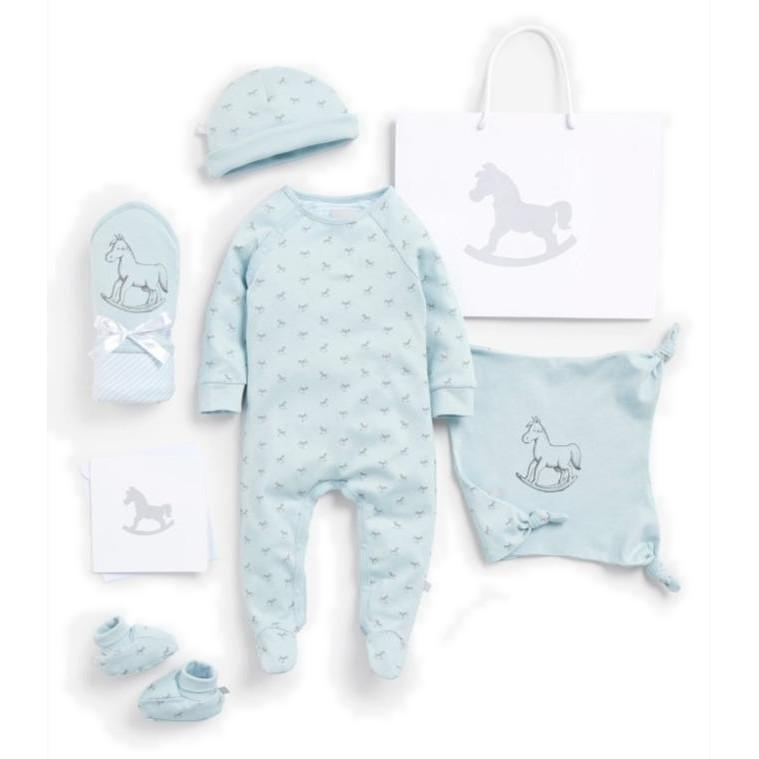 Bambinista-THE LITTLE TAILOR-Gifts-Super Soft Jersey Sleep Suit, Hat, Blanket, Comforter And Booties Gift Set - Blue