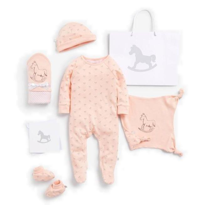 Bambinista-THE LITTLE TAILOR-Gifts-Super Soft Jersey Sleep Suit, Hat, Blanket, Comforter And Booties Gift Set - Pink