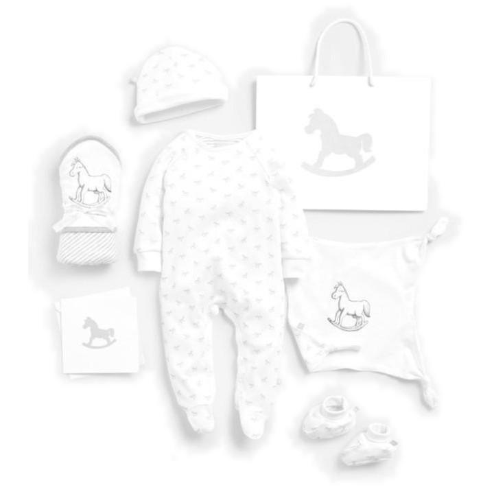 Bambinista-THE LITTLE TAILOR-Gifts-Super Soft Jersey Sleep Suit, Hat, Blanket, Comforter And Booties Gift Set - White