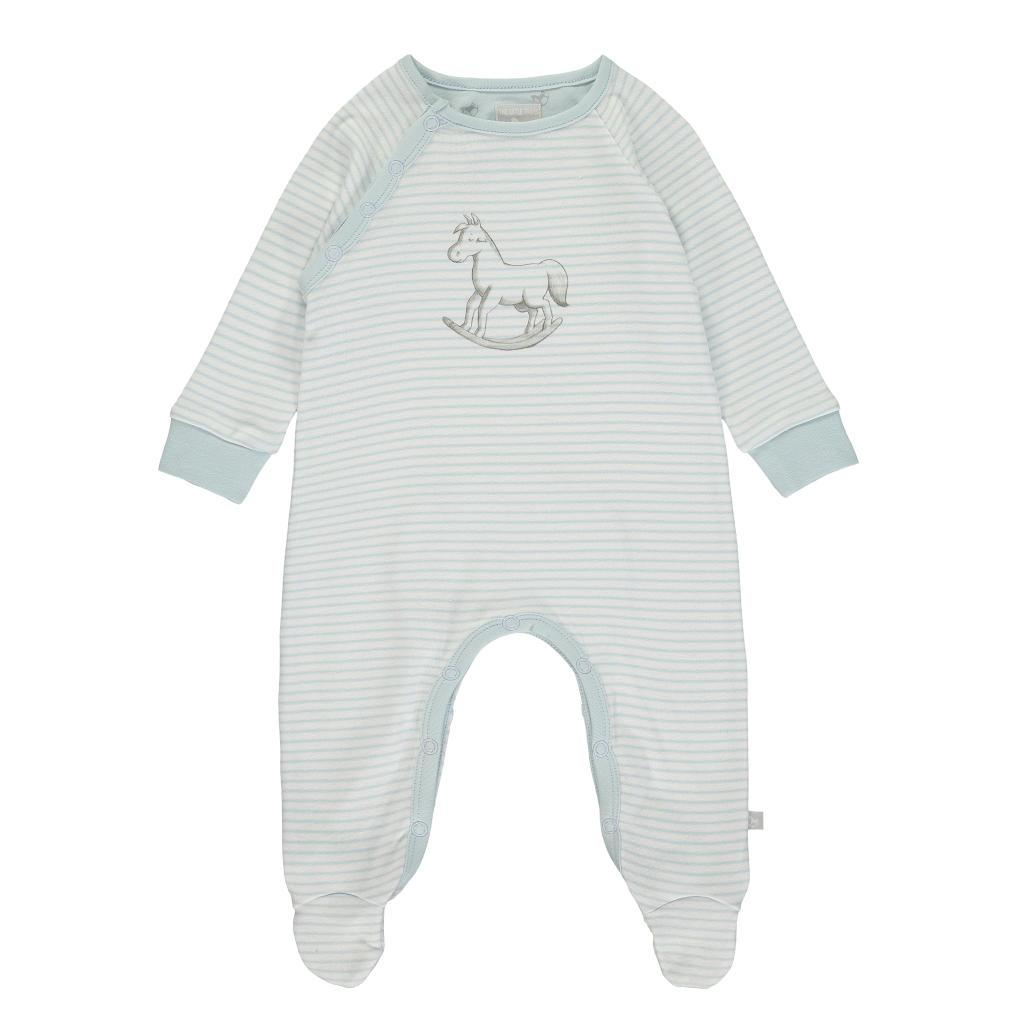 Bambinista-THE LITTLE TAILOR-Rompers-Super Soft Jersey Stripe Chest Print Sleepsuit - Blue