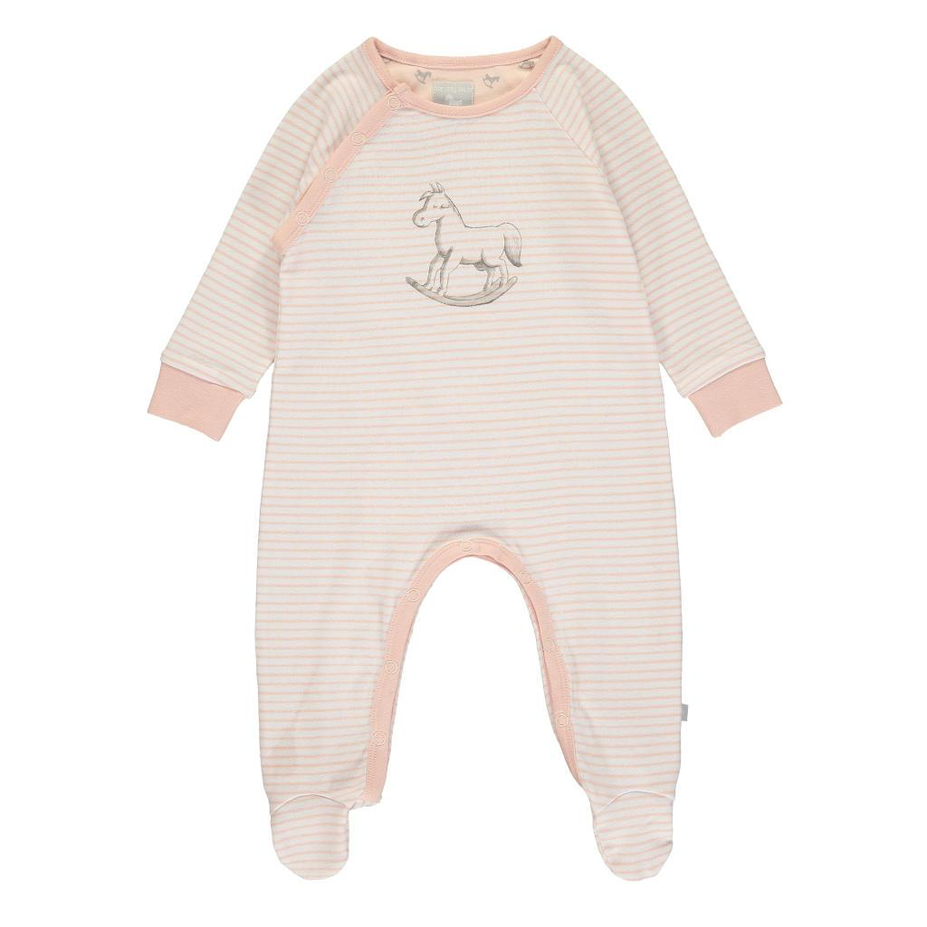 Bambinista-THE LITTLE TAILOR-Rompers-Super Soft Jersey Stripe Chest Print Sleepsuit - Pink