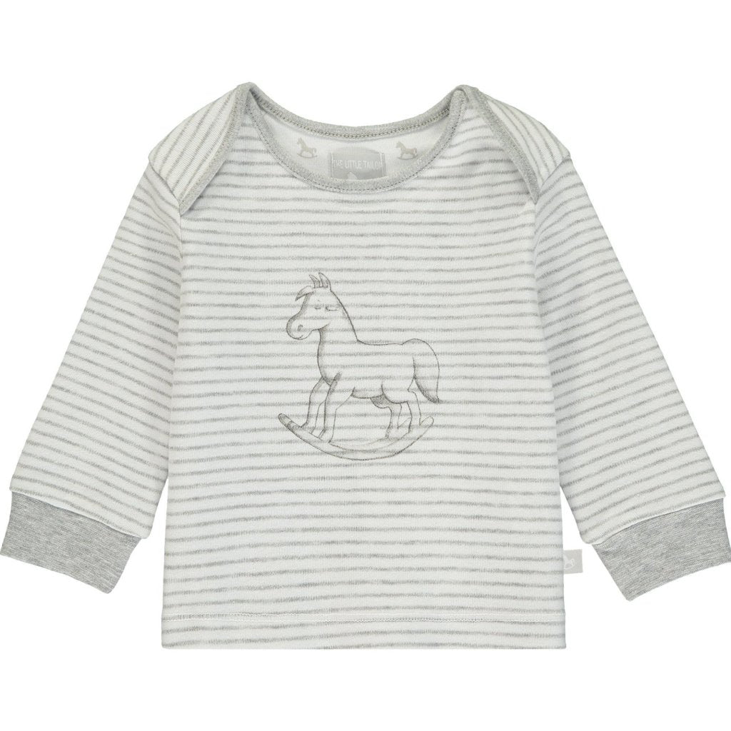 Bambinista-THE LITTLE TAILOR-Tops-Super Soft Jersey Striped Rocking Horse Top - White