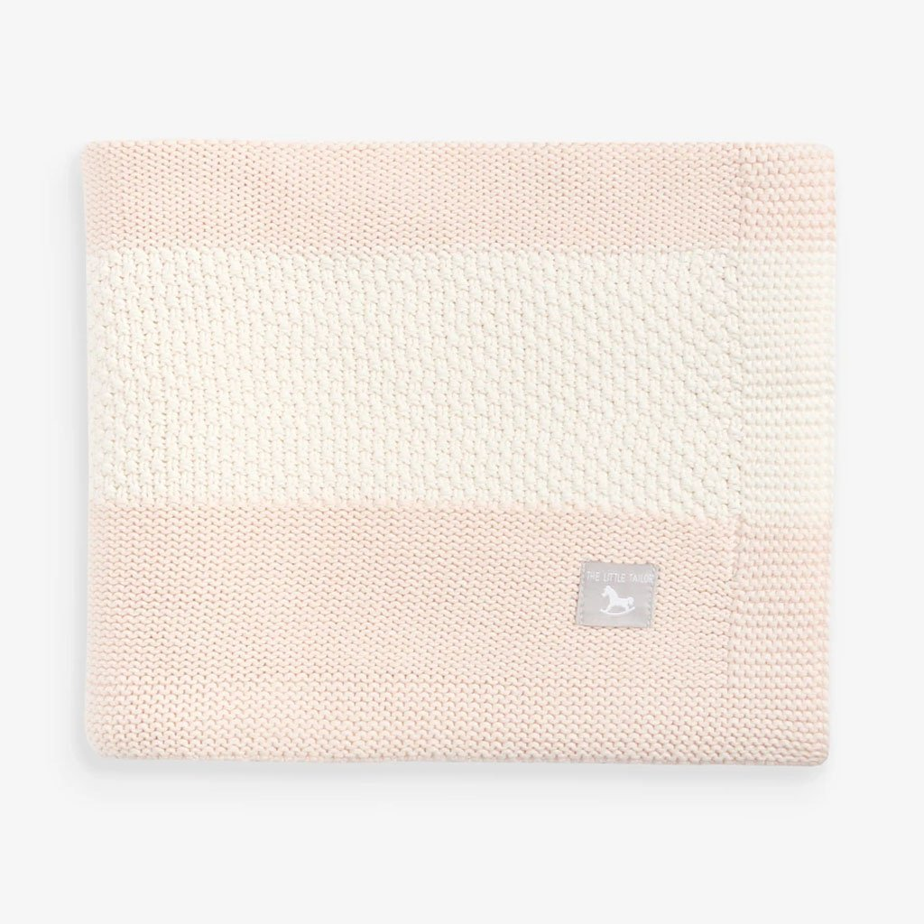 Bambinista-THE LITTLE TAILOR-Blankets-Textured Stripe Baby Shawl Blanket Pink/ Cream