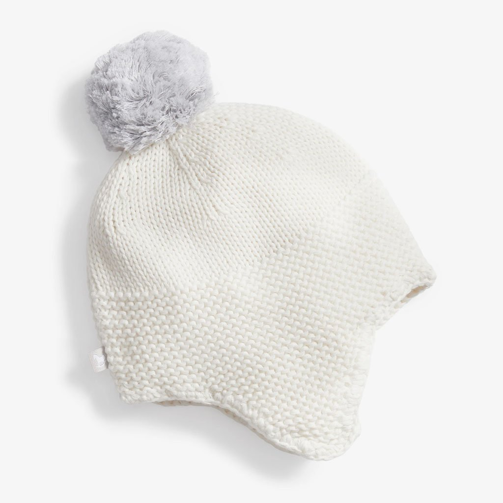 Bambinista-THE LITTLE TAILOR-Outerwear-Trapper Hat with Pom Pom - Cream