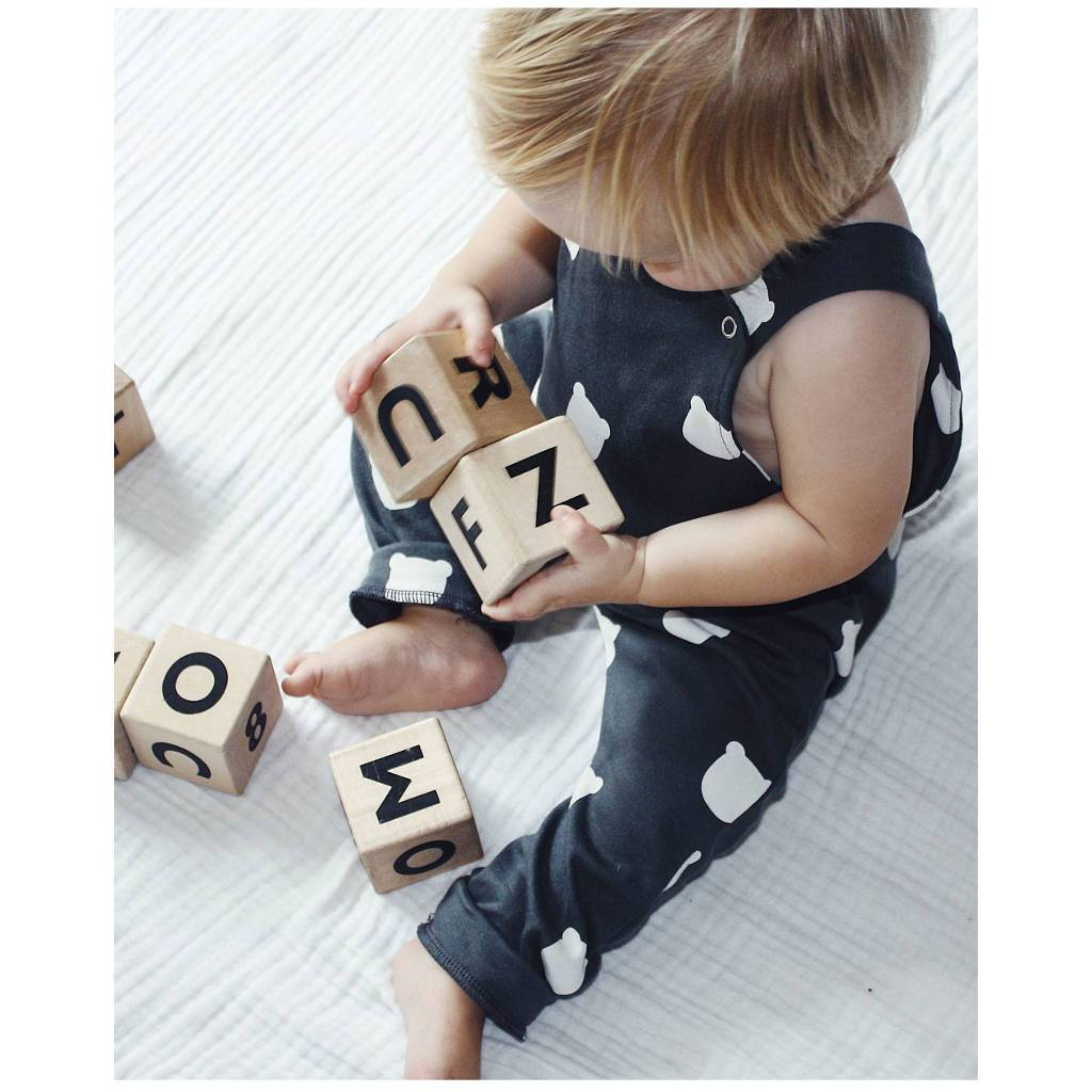 Bambinista-TOBIAS & THE BEAR-Rompers-Bear Charcoal Bear Dungarees