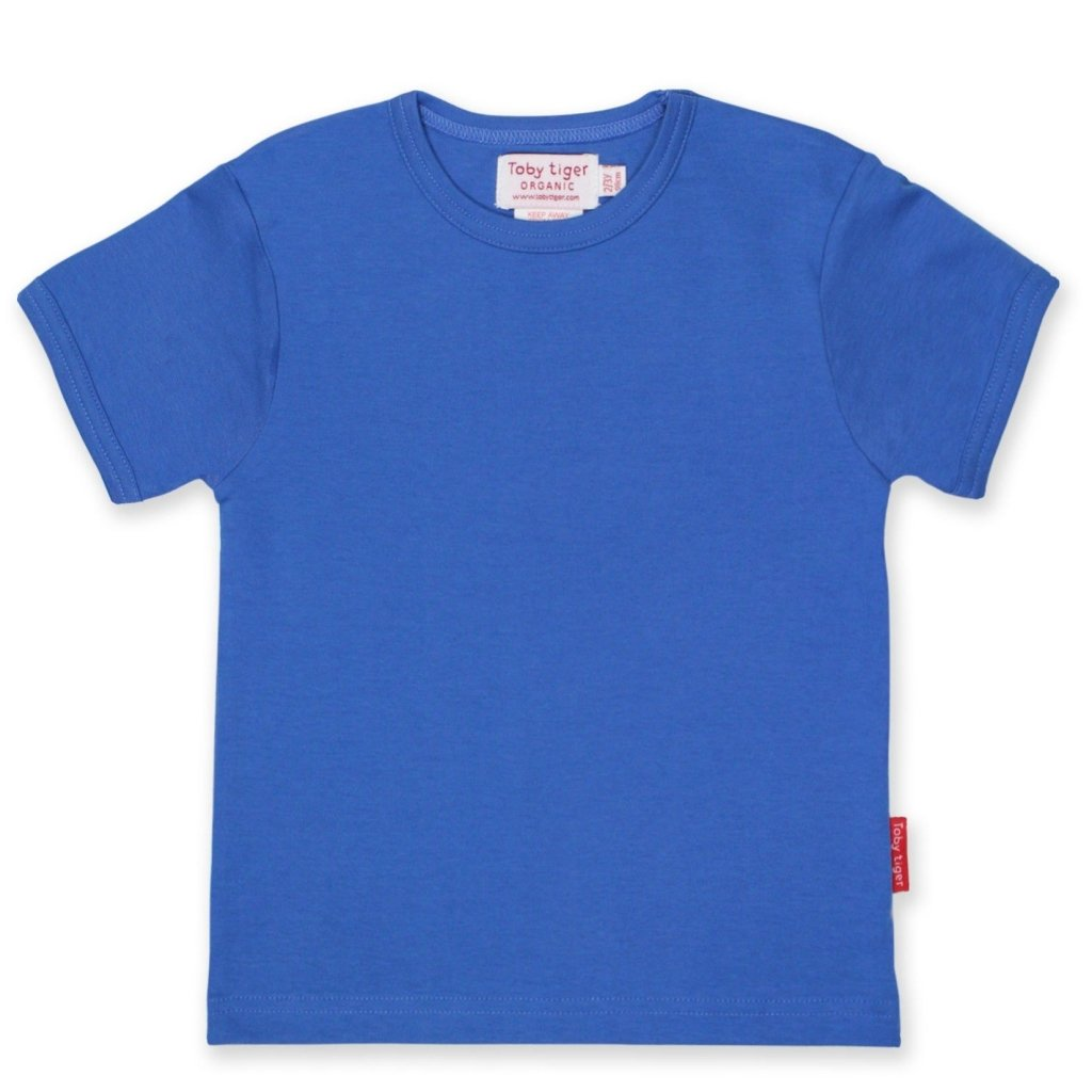 Bambinista-TOBY TIGER-Tops-Organic Blue Basic T-shirt