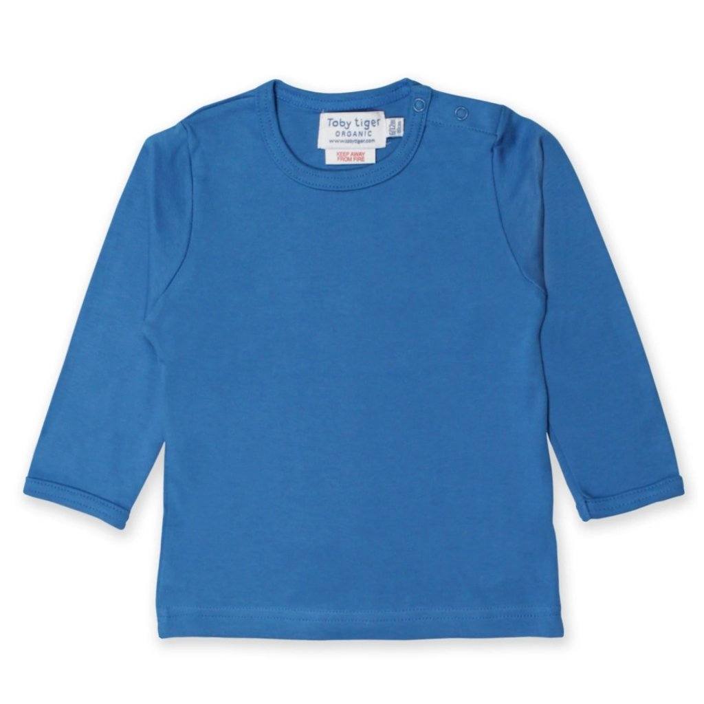 Bambinista-TOBY TIGER-Tops-Organic Blue Basic T-Shirt Long Sleeve