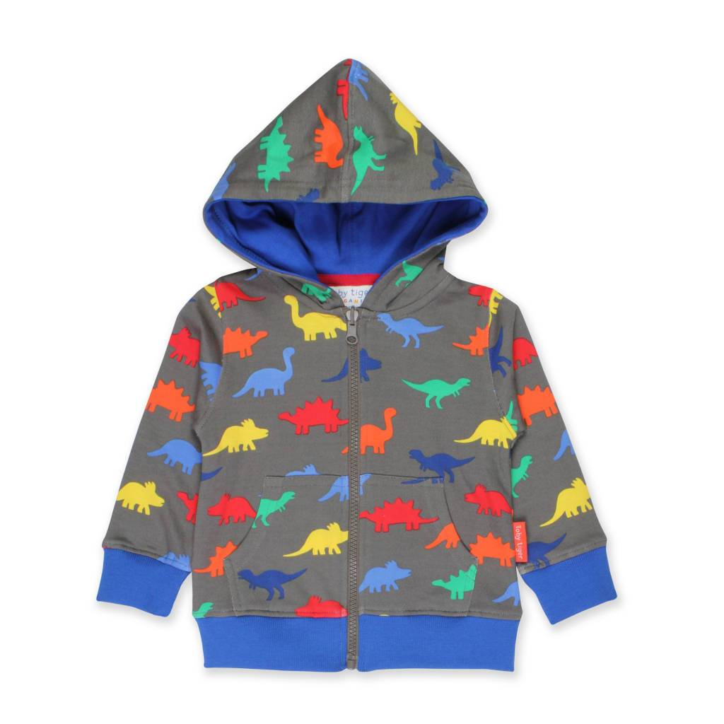 Bambinista-TOBY TIGER-Tops-Organic Dinosaur Print Hoodie