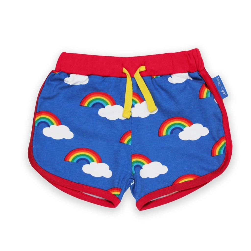 Bambinista-TOBY TIGER-Bottoms-Organic Multi Rainbow Print Running Shorts