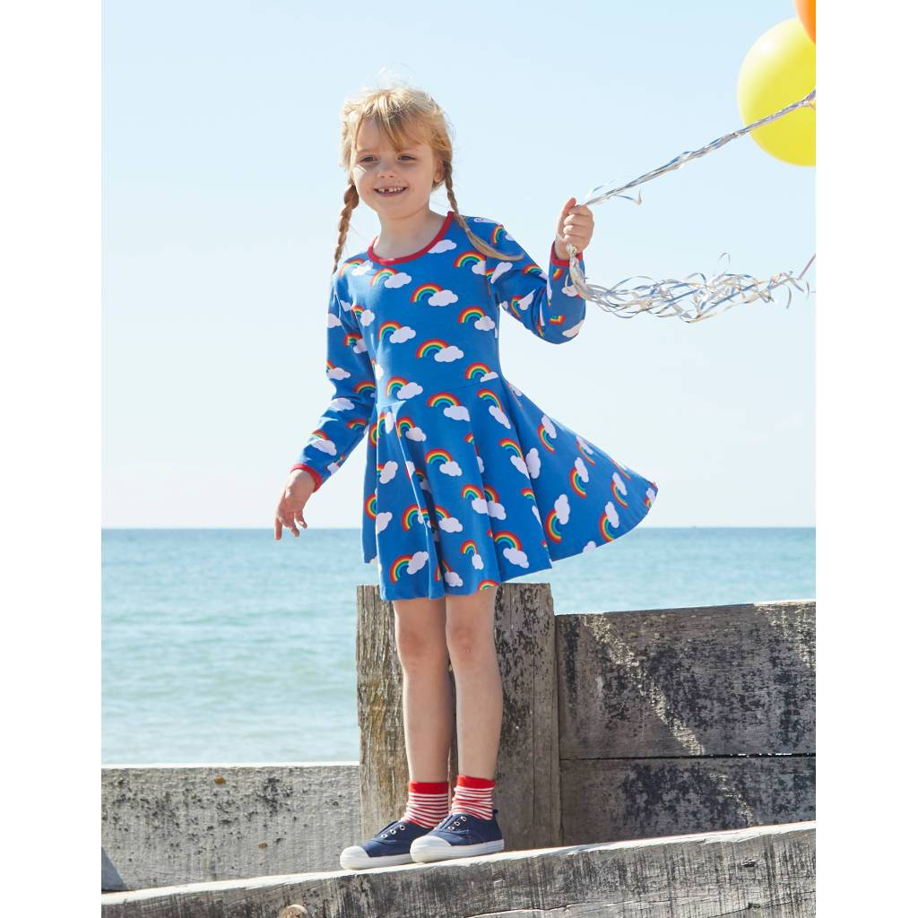 Bambinista-TOBY TIGER-Dresses-Organic Multi Rainbow Print Skater Dress