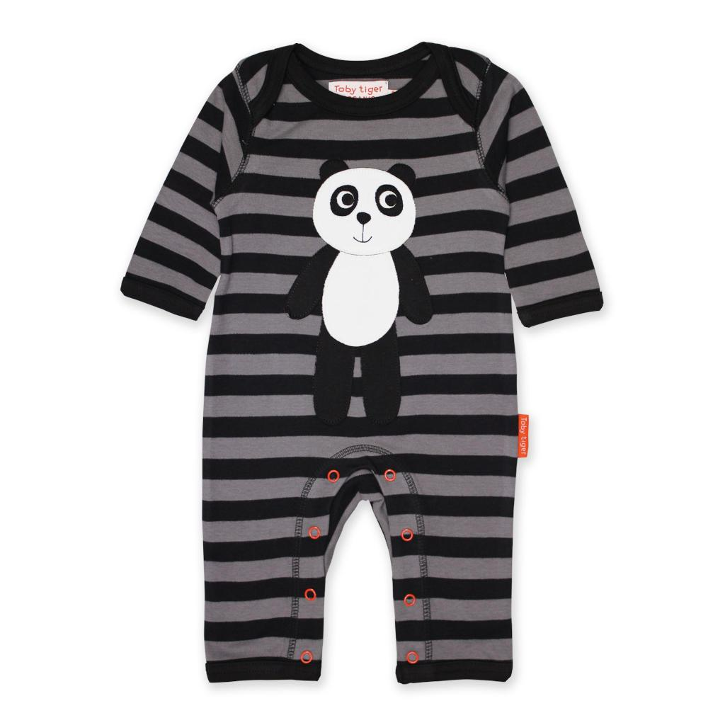 Bambinista-TOBY TIGER-Rompers-Organic Panda Applique Sleepsuit