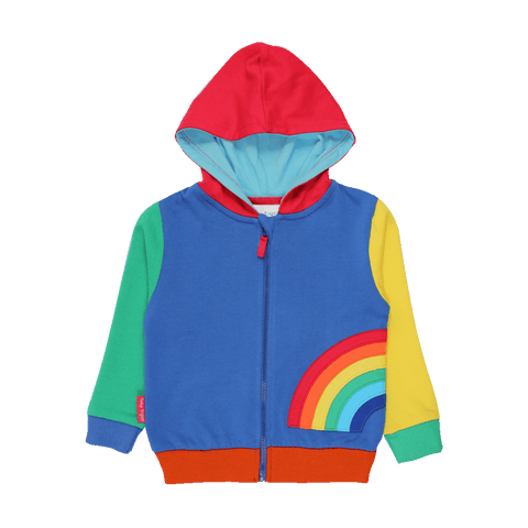 Bambinista-TOBY TIGER-Tops-Organic Rainbow Applique Hoodie