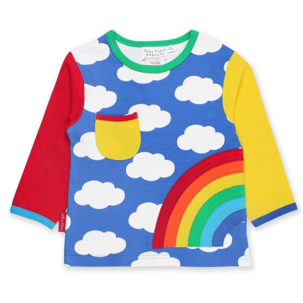 Bambinista-TOBY TIGER-Tops-Organic Rainbow Applique LS T-Shirt