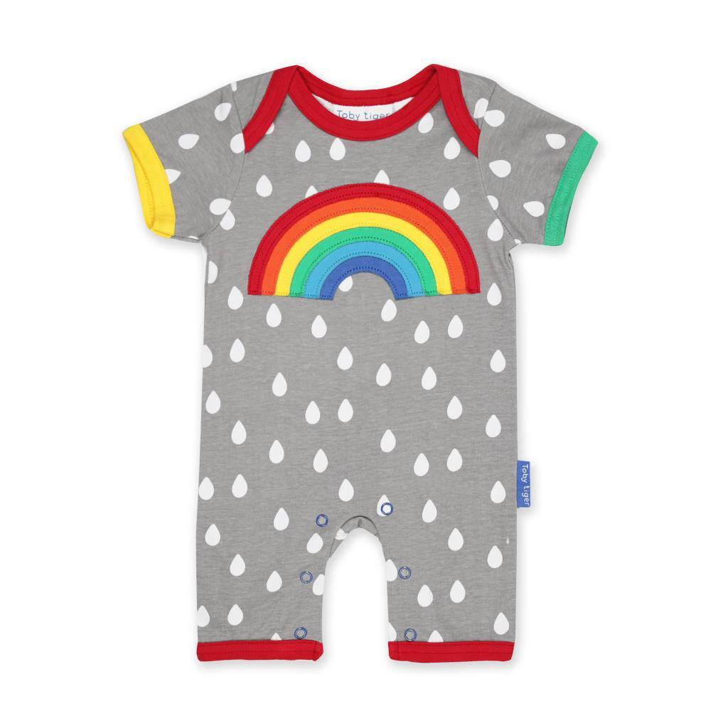 Bambinista-TOBY TIGER-Rompers-Organic Raindrop with Rainbow Applique Romper