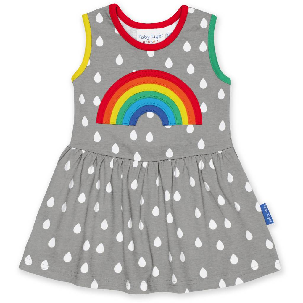 Bambinista-TOBY TIGER-Dresses-Organic Raindrop with Rainbow Applique Summer Dress